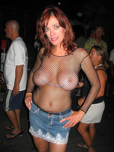 3617627570 07f797735d Wife first time topless fishnet flashing boobs in public