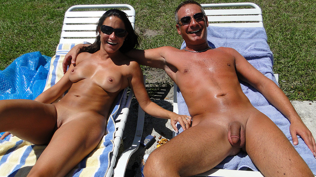 Naturist couple into swinging