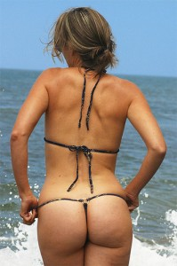 Wife at the beach in her new g string thong bikini
