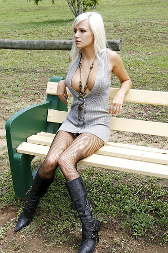1963135479 bee733c3c8 Boobs Boots Fishnet Blond