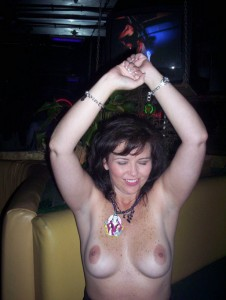 Wife First time ever topless in a club