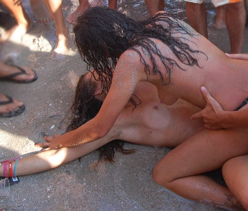 Burning public nude at man in