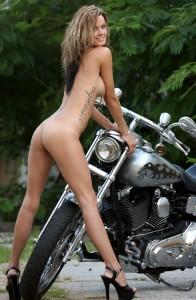 nude female harley biker