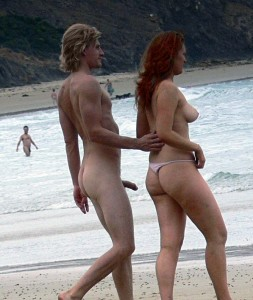 topless redhead erect penis nude beach