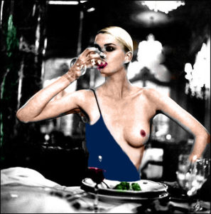 helmut newton one boob dress colorized 2